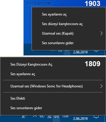 Windows 10 da ses efekti yok