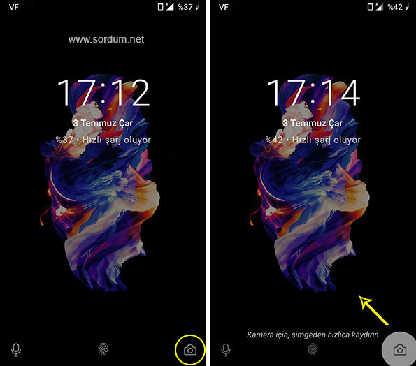 Android kilit ekranı kamera