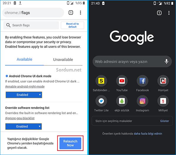 Chrome tarayıcısını yeniden başlat