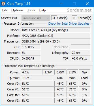 Core temp ile ısı değerleri