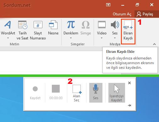 Powerpoint ile ekran kaydı