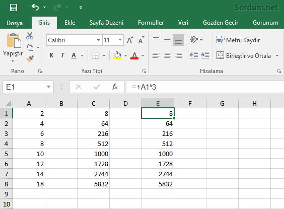 Excelde bir sayının üssü nasıl hesaplanır