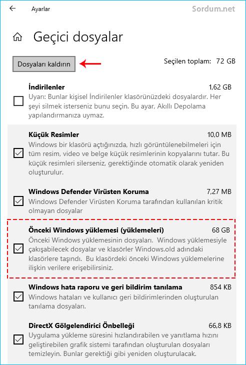Geçici dosyalar içindeki eski windowsu silelim