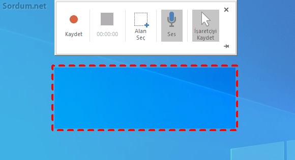 powerpoint ekran kaydı alanı