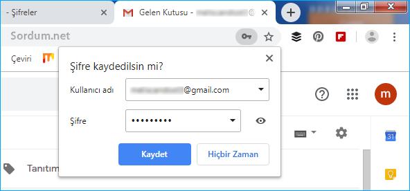 Chrome şifre kaydedilsinmi ekranı