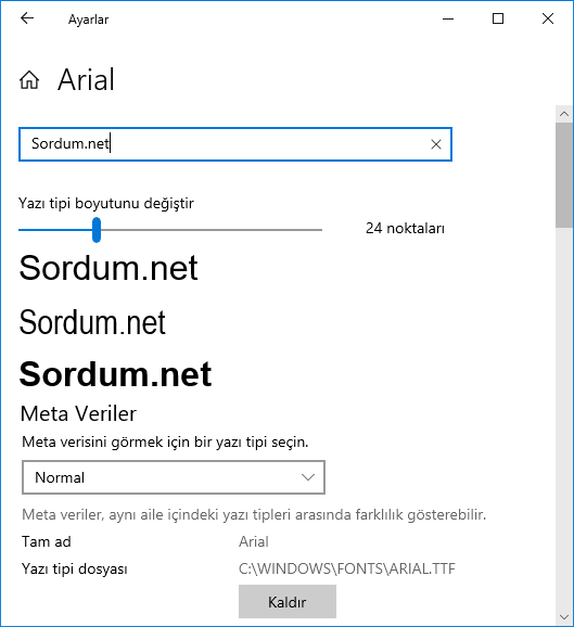Windows 10 Font kaldırma