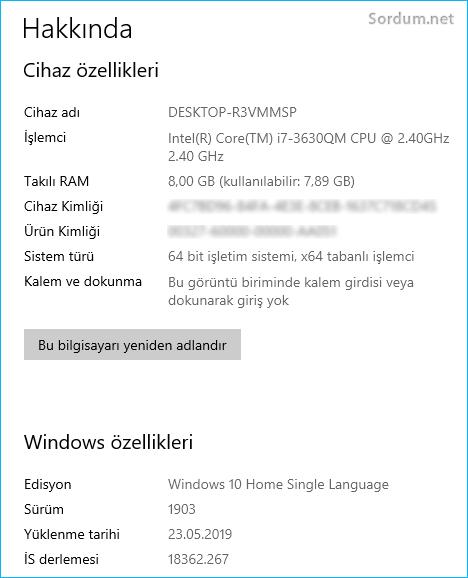 Windows 10 hakkında penceresi
