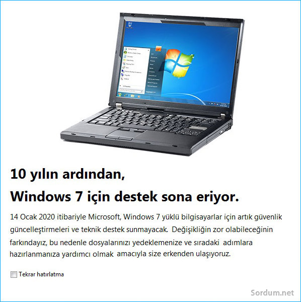 Windows 7 desteği 2020 de sona eriyor