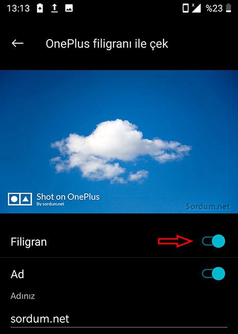 Android filigran ayarı