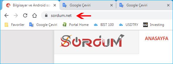 Chrome adres çubuğunda URL eksik