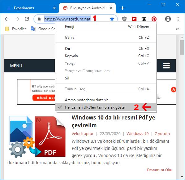 Chrome adres çubuğu tam görüntülensin