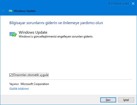 Windows güncelleme sorun giderici