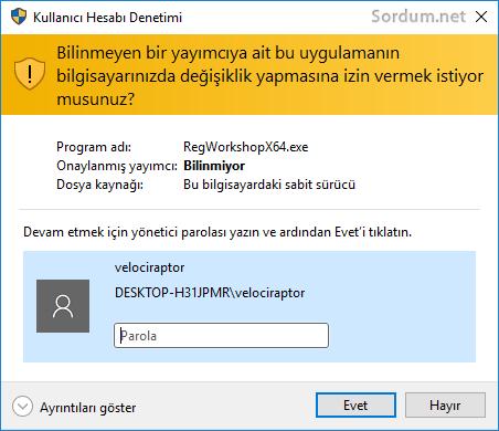 Kullanıcı hesabı denetimi uyarısı