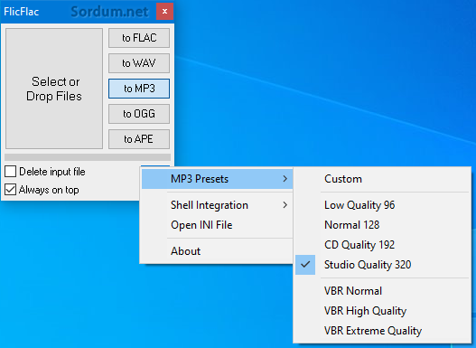 FlicFlac mp3 kalitesini belirleme