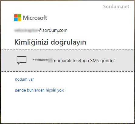 Outlook telefon doğrulaması