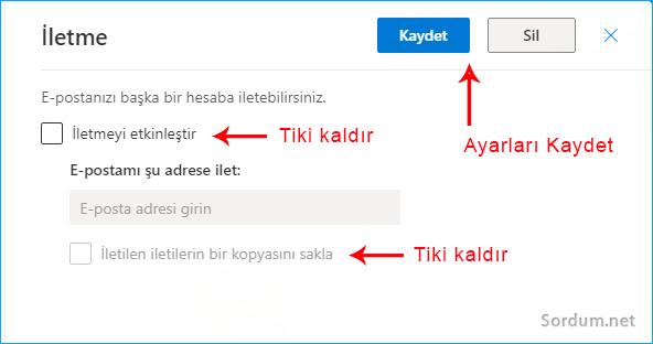 Outlook yönlendirmesi nasıl kaldırılır