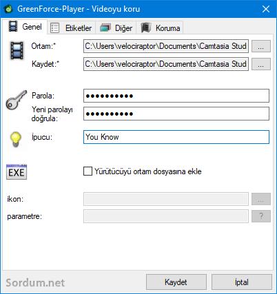 Video dosyasını şifreleyelim