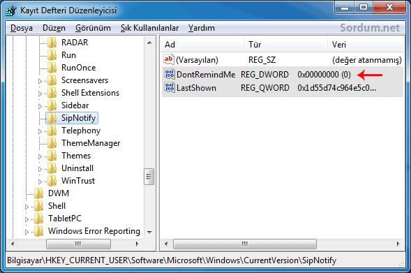 Registryde windows 7 desteği sona eriyor mesajı
