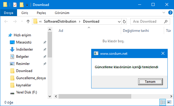 Windows Update klasörü temizlendi