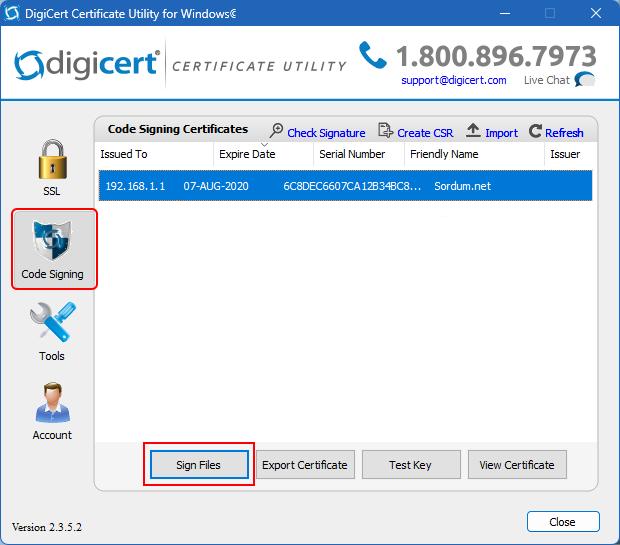 Yazılıma sertifika ekle