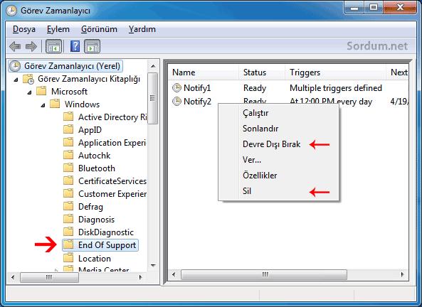 zamanlanmış görevlerde windows 7 desteği sona eriyor mesajı