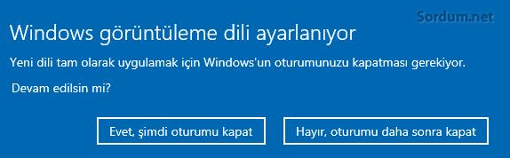Windows görüntüleme dili ayarlanıyor