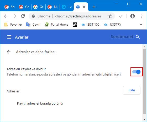 Chrome adresleri Hatırlasın