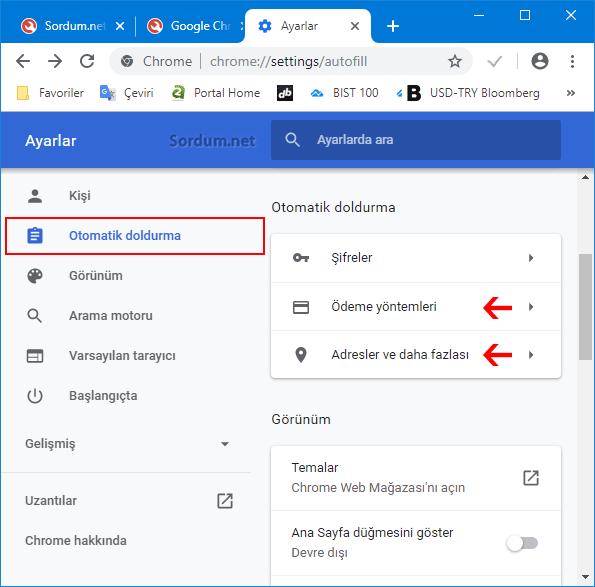 Chrome otomatik doldur