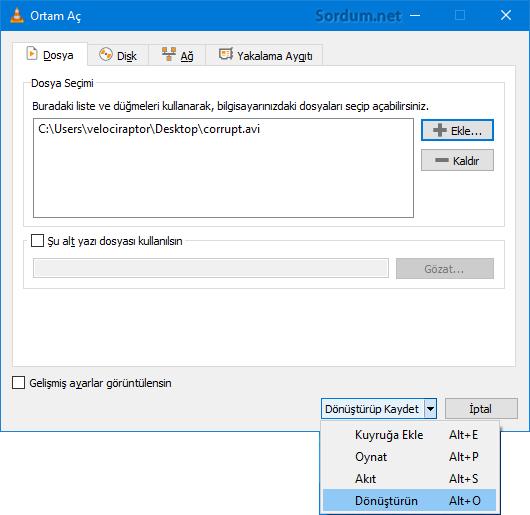 VLC Dönüştür Kaydet butonu
