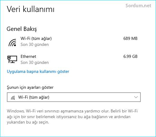 Windows 10 veri kullanımı