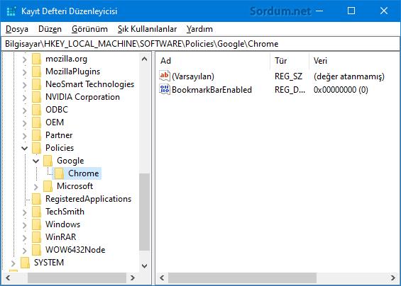 Chrome yer işaretleri çubuğu registry değeri