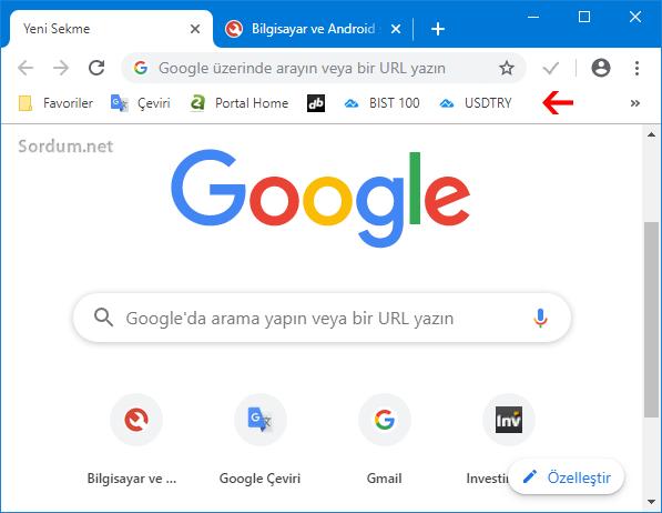 Google Chrome yer işaretleri çubuğu