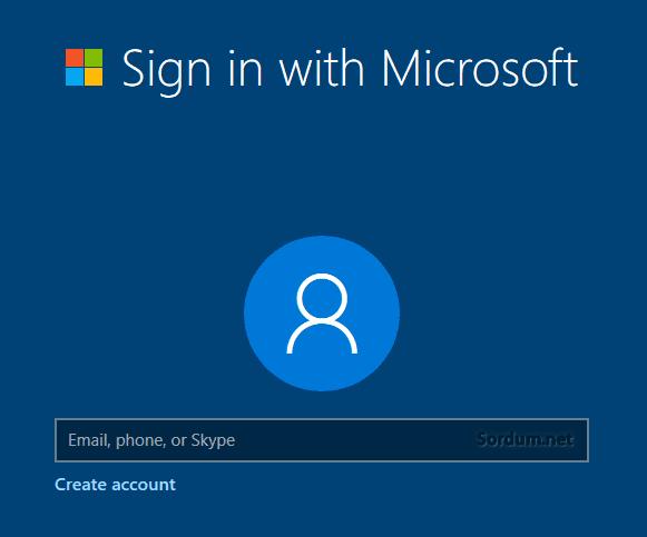 Microsoft hesabı ile oturum aç