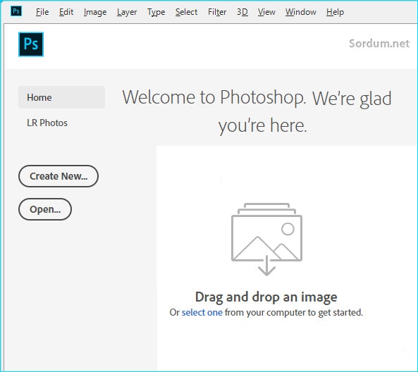 photoshop hoşgeldiniz ekranı