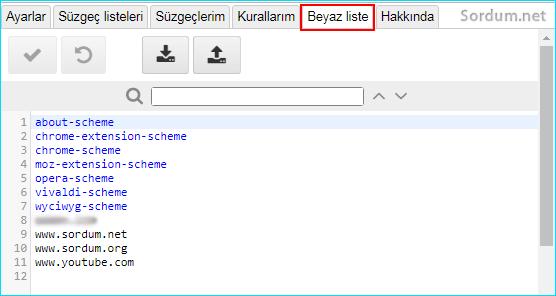 ublock origin beyaz liste