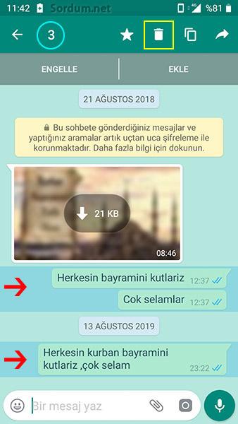 whatsapp mesaj silme