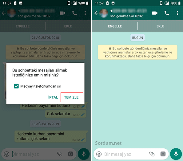 whatsapp sohbet temizlendi