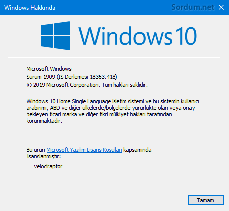 Windows 10 1909 sürümü