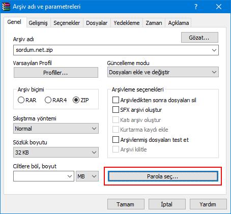 Winrar ile şifreli arşiv dosyası nasıl oluşturulur