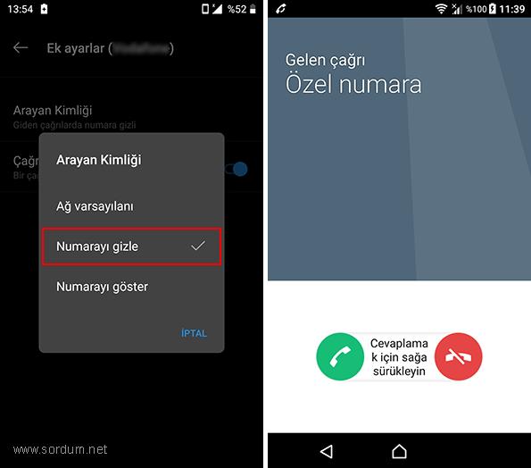 Android te numara gizleme