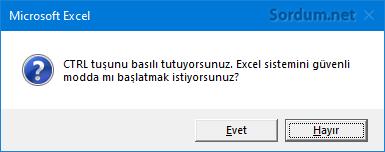 Excel güveli modda başlasınmı uyarısı