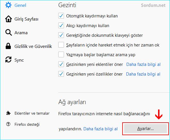 Firefox Ağ ayarları