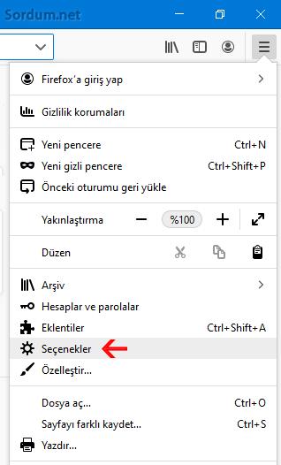 Firefox seçenekler