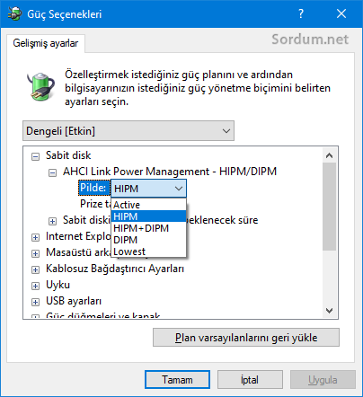 Güç yönetimine AHCI Link Power management ilavesi