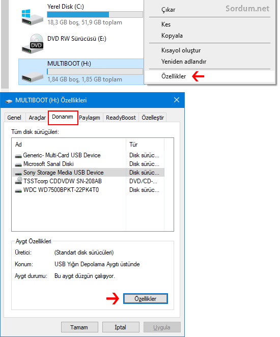 USB donanım özellikleri