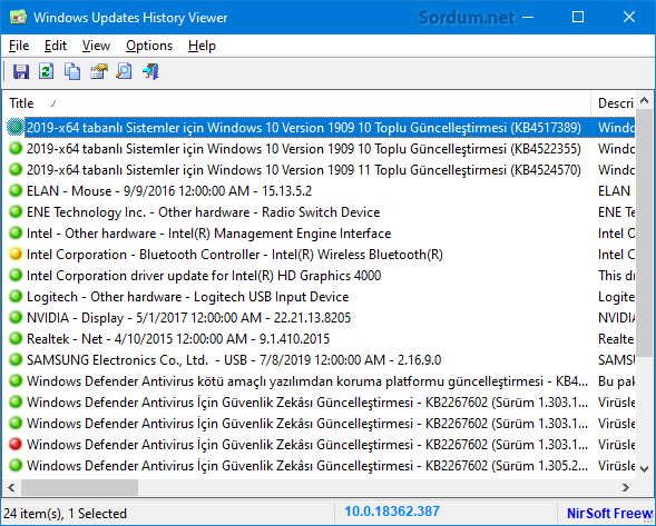 windows updates history viewer arayüz