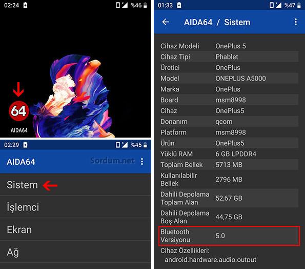 Aida 64 ile bluetooth sürümü