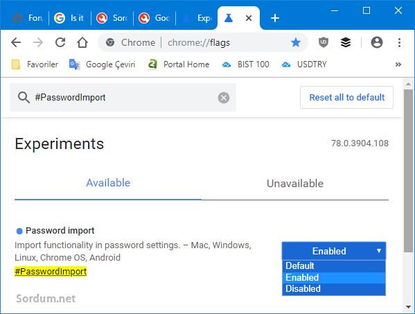 Chrome şifreleri içe aktar