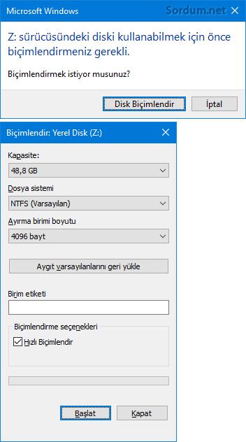 Diski biçimlendir ekranı