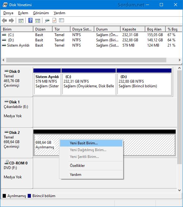 Disk yönetimi yeni basit birim